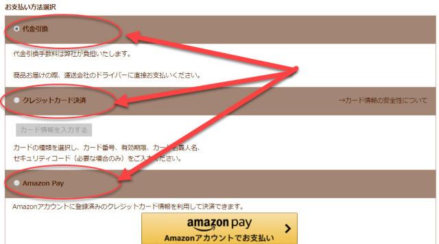 お支払い方法選択